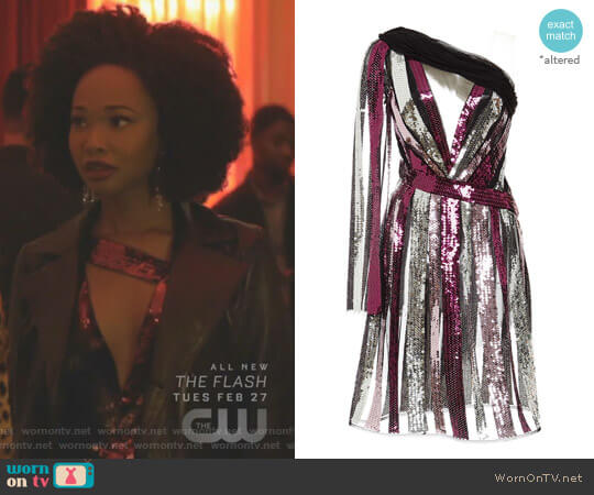 Sequin One Shoulder Dress by Rodarte worn by Monica Colby (Wakeema Hollis) on Dynasty