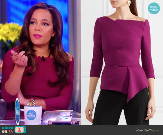 Almeley asymmetric crepe top by Roland Mouret worn by Sunny Hostin (Sunny Hostin) on The View
