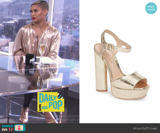 Jane Platform Sandal by Schutz worn by Sibley Scoles  on E! News