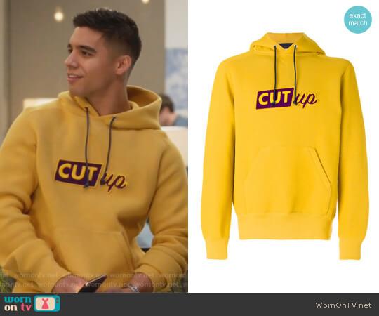 Cut-up slogan hoodie by Sacai worn by Jordan Buhat on Grown-ish