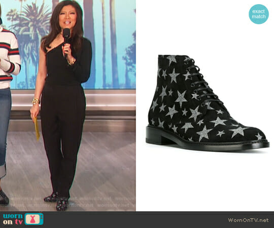 Lolita 20 lace-up ankle boots by Saint Laurent worn by Julie Chen on The Talk