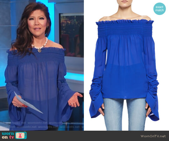 Silk Georgette Off-the-Shoulder Top by Saint Laurent worn by Julie Chen  on Celebrity Big Brother