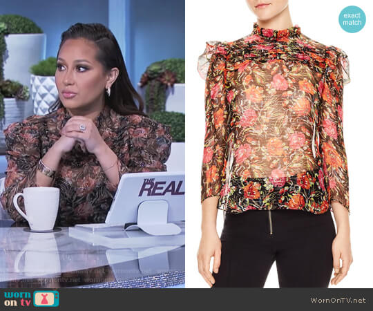 Amina Floral-Print Metallic-Stripe Top by Sandro  worn by Adrienne Houghton on The Real