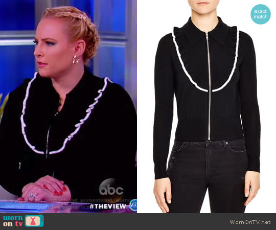 Tao Ruffled Zip-Up Cardigan by Sandro worn by Meghan McCain  on The View