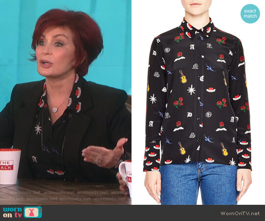 Mellie Tattoo-Print Silk Shirt by Sandro worn by Sharon Osbourne  on The Talk