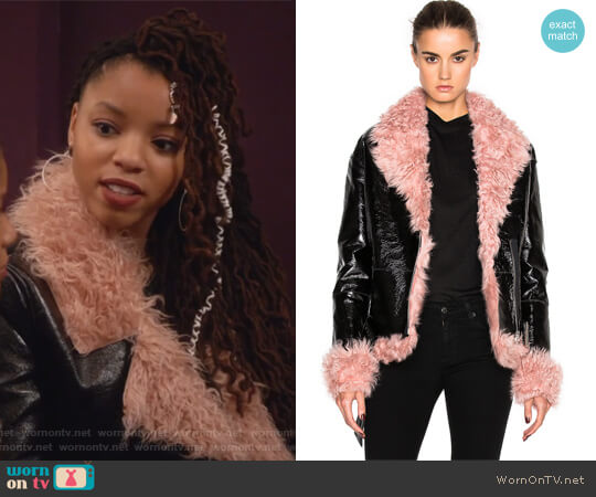 Bowery Coat with Lamb Fur by Sandy Liang worn by Jazlyn Forster (Chloe Bailey) on Grown-ish