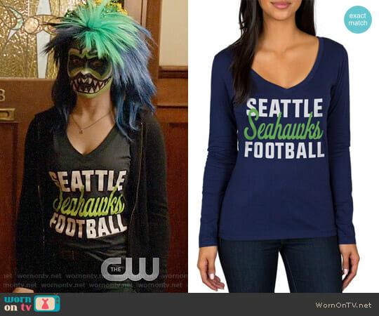 Seattle Seahawks Navy Blitz 2 Hit Long Sleeve V-Neck T-Shirt worn by Liv Moore (Rose McIver) on iZombie