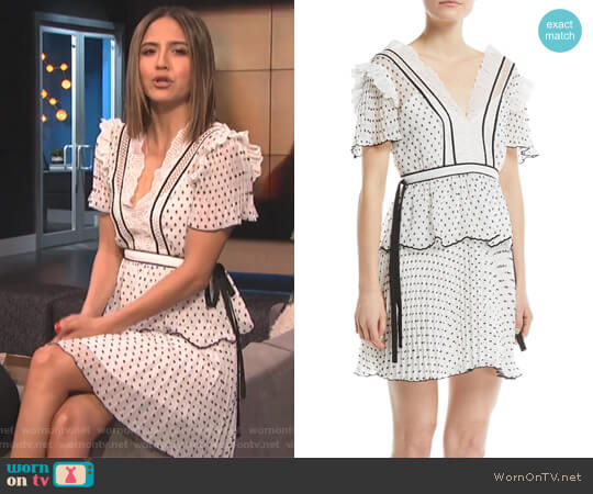 V-Neck Short-Sleeve Dotted Frilled Short Cocktail Dress by Self Portrait worn by Erin Lim on E! News