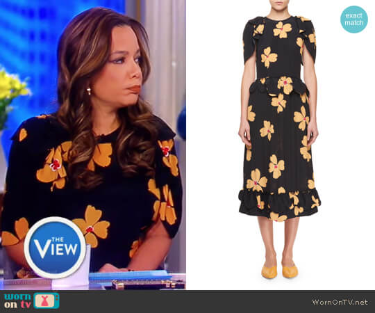 Floral-Print Crepe de Chine Midi Dress by Simone Rocha worn by Sunny Hostin on The View