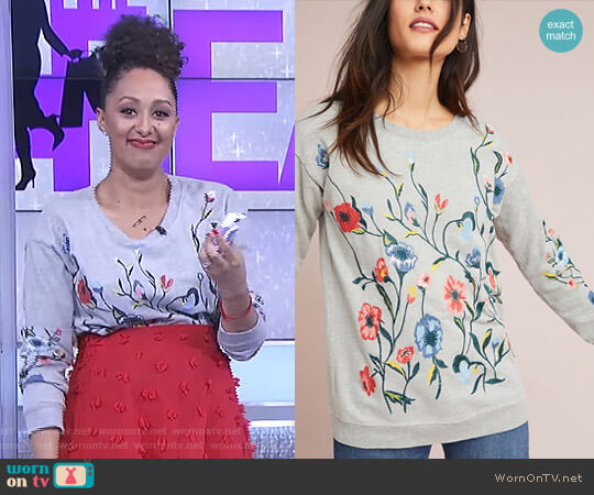 Embroidered Sweatshirt by Sundry worn by Tamera Mowry  on The Real