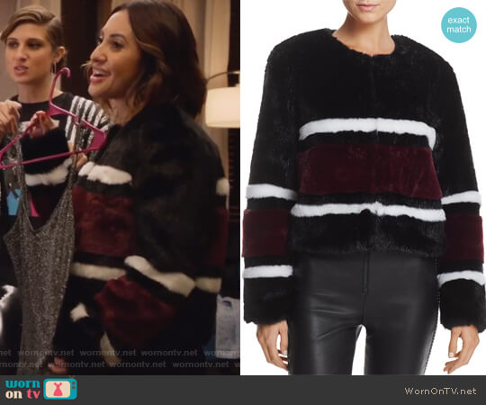 Striped Faux Fur Jacket by Sunset & Spring worn by Francia Raisa on Grown-ish