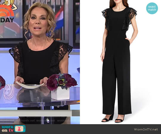 Lace Sleeve Crepe Jumpsuit by Tahari worn by Kathie Lee Gifford  on Today