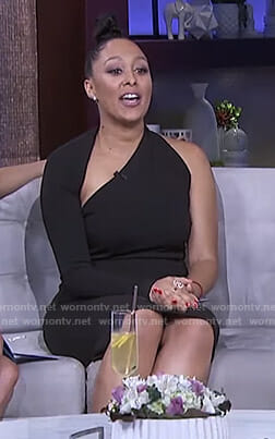 Tamera's black asymmetric one sleeve dress on The Real