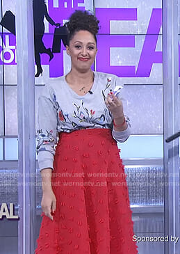 Tamera's grey floral sweatshirt and red skirt on The Real