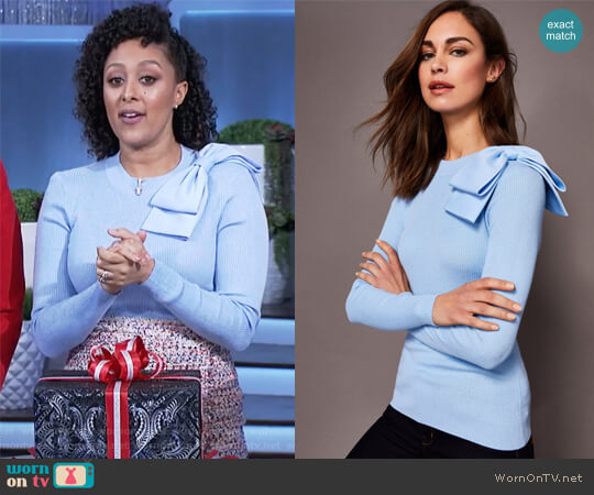 NEHRU Bow detail skinny rib jumper by Ted Baker worn by Tamera Mowry  on The Real
