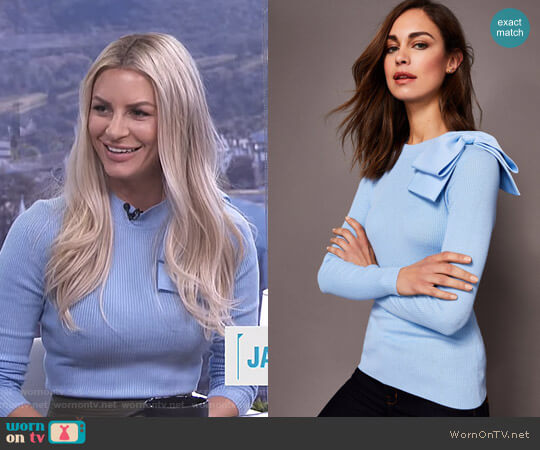 Nehru Bow Skinny Rib Knit Sweater by Ted Baker worn by Morgan Stewart  on E! News