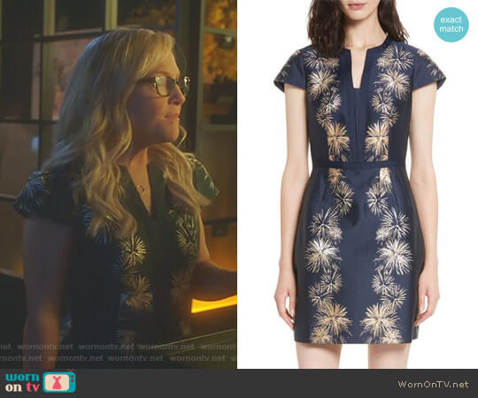 'Tzalla' Sculpted Stardust Jacquard Dress by Ted Baker worn by Linda Martin (Rachael Harris) on Lucifer