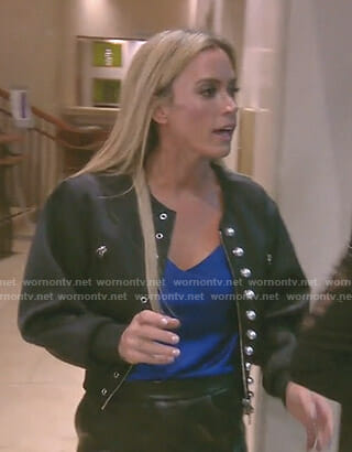 Teddi's black bomber jacket with pearls on The Real Housewives of Beverly Hills
