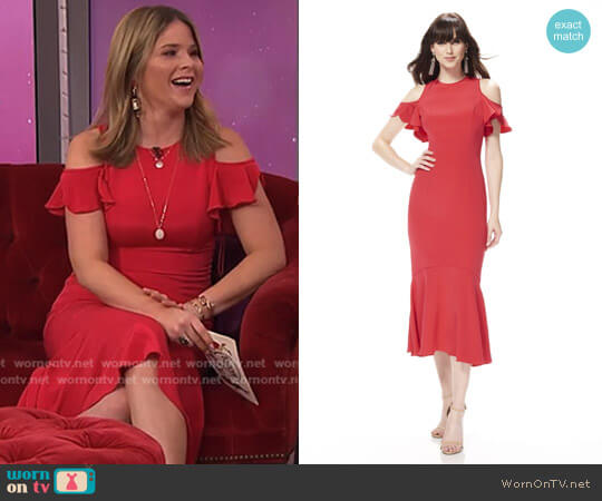 Cold Shoulder Cocktail Dress by Theia worn by Jenna Bush Hager on Today