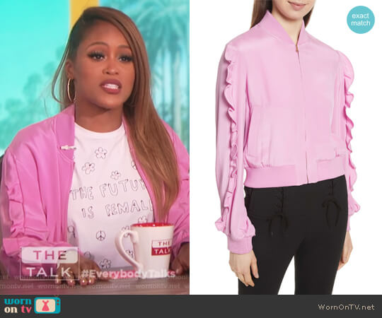 Ruffled Silk Bomber Jacket by Tibi worn by Eve (Eve) on The Talk