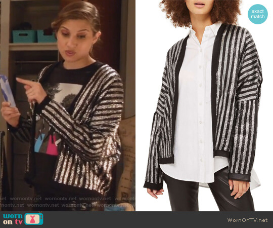 Batwing Sequin Stripe Jacket by Topshop worn by Emily Arlook on Grown-ish