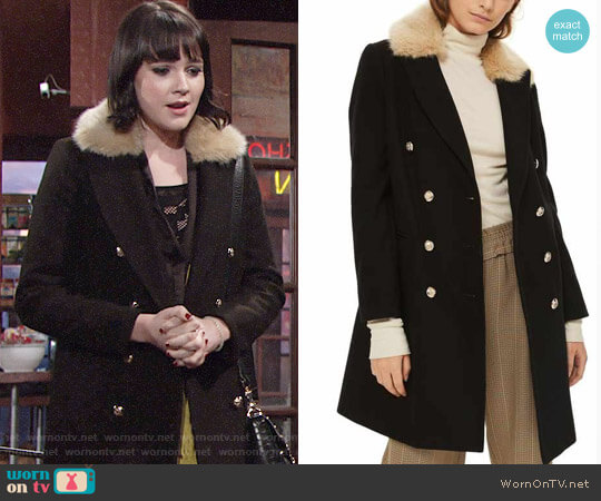 Topshop Nina Faux Fur Collar Double Breasted Coat worn by Cait Fairbanks on The Young & the Restless