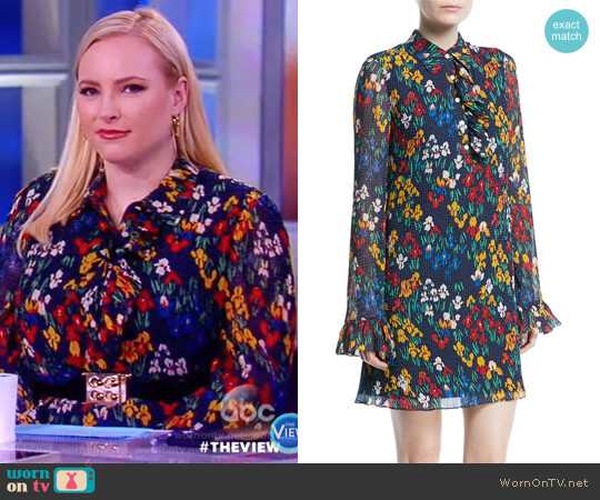 Livia Iris Garden Printed Long-Sleeve Dress by Tory Burch worn by Meghan McCain on The View