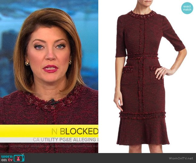 Tweed Sheath Dress by Teri Jon by Rickie Freeman worn by Norah O'Donnell  on CBS This Morning