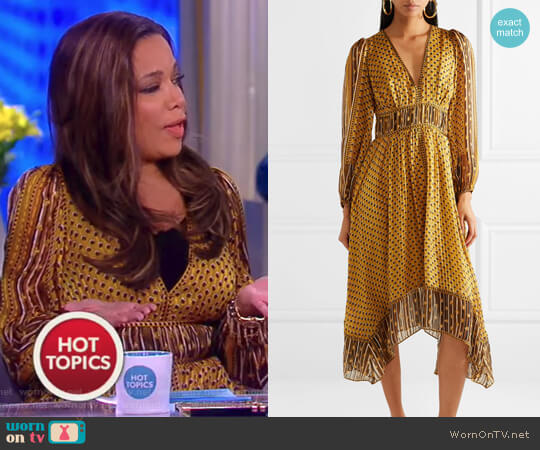 Amabelle printed silk-jacquard midi dress by Ulla Johnson worn by Sunny Hostin on The View