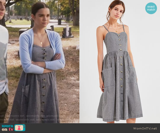 Cooperative Emilia Gingham Button-Down Midi Dress worn by Maia Mitchell on The Fosters