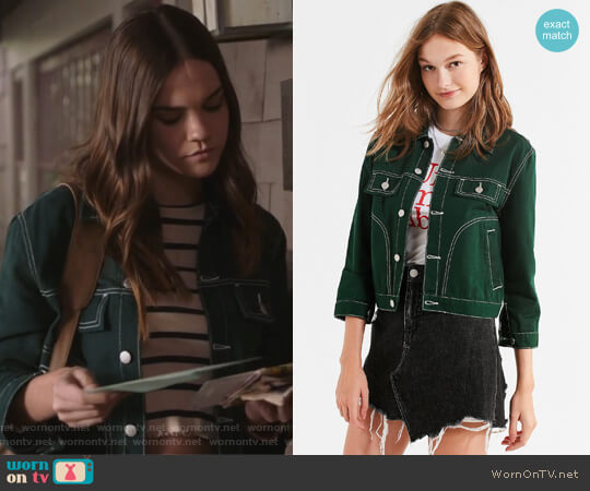 UNIF Woody Green Denim Jacket by Urban Outfitters worn by Callie Jacob (Maia Mitchell) on The Fosters