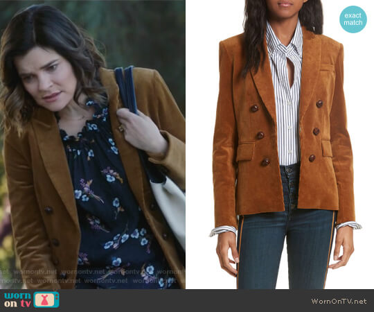 Cliff Corduroy Cutaway Jacket by Veronica Beard worn by Heather Hughes (Betsy Brandt) on Life in Pieces
