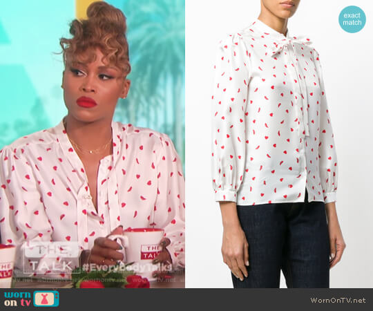 Heart and Shoe Print Blouse by Vivetta worn by Eve  on The Talk