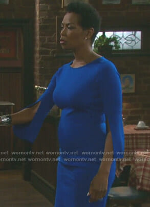 Valerie's blue split sleeve sheath dress on Days of our Lives