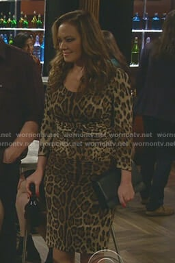 Vanessa's leopard print ruched dress on Kevin Can Wait