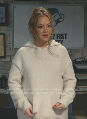 Vanessa's white knitted hoodie on Kevin Can Wait