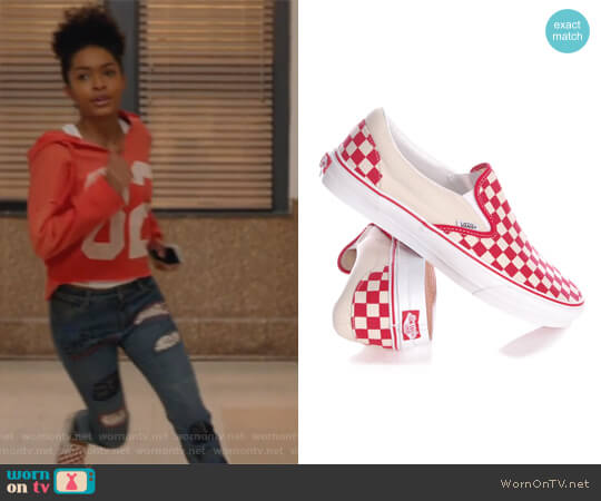Checkerboard Slip-On Sneaker by Vans worn by Zoey Johnson (Yara Shahidi) on Grown-ish