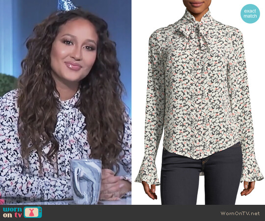 Gamble Printed Tie-Neck Blouse by Veronica Beard worn by Adrienne Houghton  on The Real