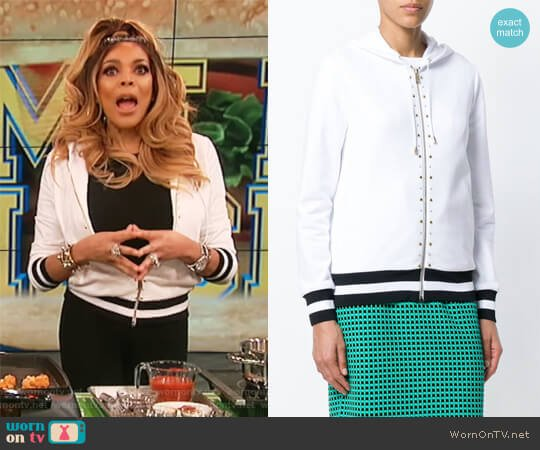 Studded Stripe Detail Zipped Hoodie by Versace worn by Wendy Williams  on The Wendy Williams Show