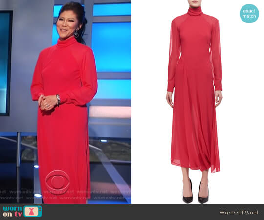 Open-Back Turtleneck Midi Dress by Victoria Beckham worn by Julie Chen on Celebrity Big Brother