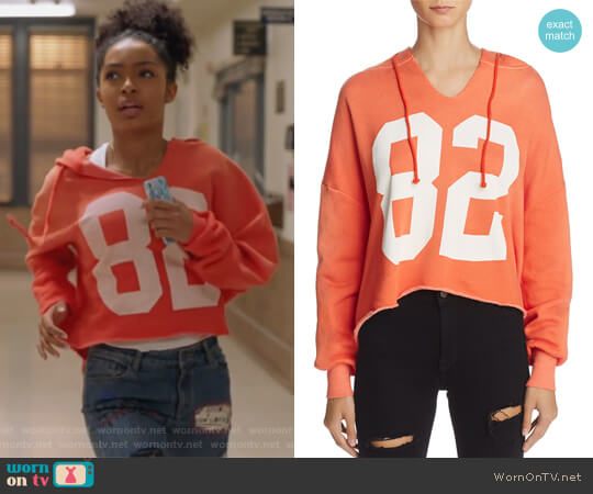 Freddy Number Graphic Hoodie by WildFox worn by Yara Shahidi on Grown-ish