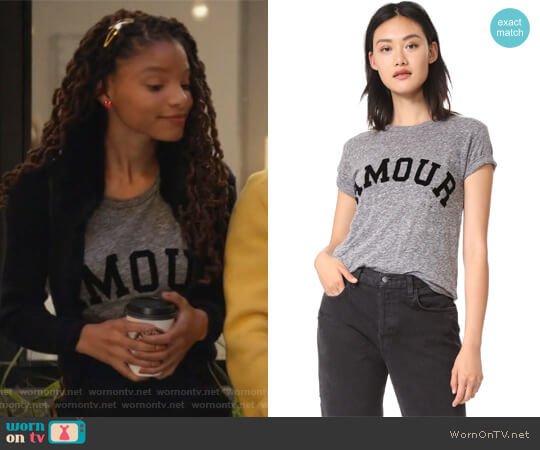 Amour Distressed Tee by Zadig & Voltaire worn by Skylar Forster (Halle Bailey) on Grown-ish