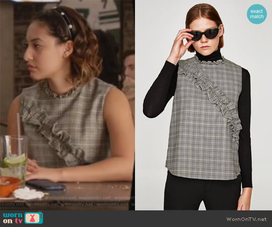 Checked Top by Zara worn by Ana Torres (Francia Raisa) on Grown-ish