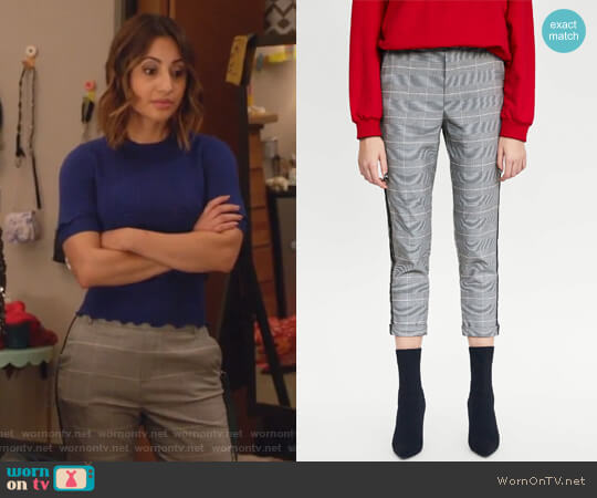 Checked Trousers with Side Stripes by Zara worn by Ana Torres (Francia Raisa) on Grown-ish