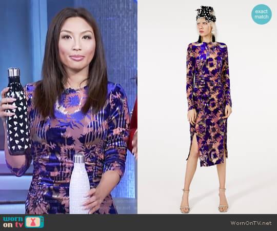 Draped Velvet Dress by Zara worn by Jeannie Mai on The Real