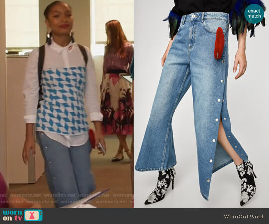 High Waist Culottes with Heart Applique by Zara worn by Yara Shahidi on Grown-ish