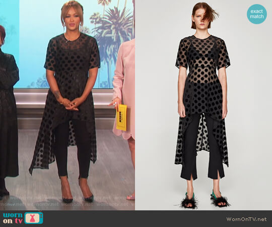 Irregular Polka Dot Top by Zara worn by Eve (Eve) on The Talk
