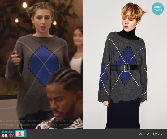 Zara Ripped Diamond Knit Sweater worn by Emily Arlook on Grown-ish