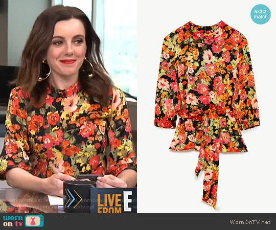 Top with Wraparound Belt by Zara worn by Melanie Bromley on E! News