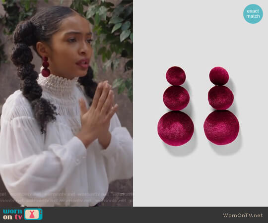 Velvet Earrings by Zara worn by Zoey Johnson (Yara Shahidi) on Grown-ish